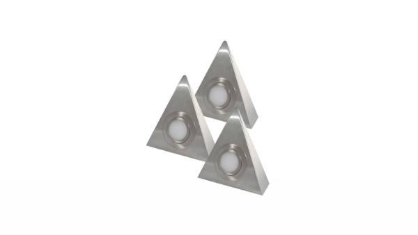LED Dreiecksleuchten, 3W, Edelstahl-Gebürstet (matt-chrom) inkl. 15W, 12V DC LED Konverter m. Mini-V
