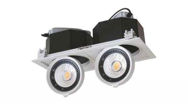 LED Downlights max. 1x 20W, weiß/schwarz, 165 x 165
