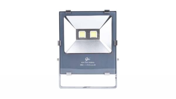 LED Fluter, 80W, silber/grau inkl. 50cm H05RN-F 3G0.75mm² Anschlussleitung & Montagebügel