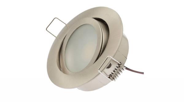 LED Einbauleuchten, 5,4W, matt-chrom inkl. 1,8m Zuleitung mit AMP-Stecker