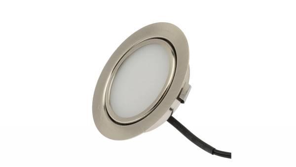 LED Einbauleuchten, 3W, silber inkl. 1,8m Zuleitung mit Mini-Stecker