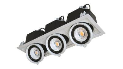 LED Downlights max. 3x 20W, weiß/schwarz, 475 x 165
