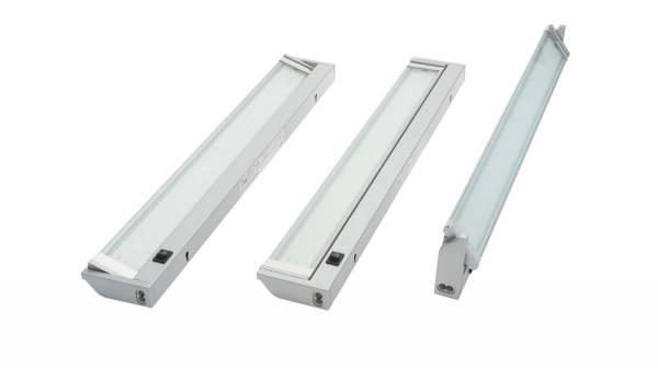 LED Unterbauleuchte, 15W, silber / grau mit Schalter und 1,8m Zuleitung mit Eurostecker, nicht erwei
