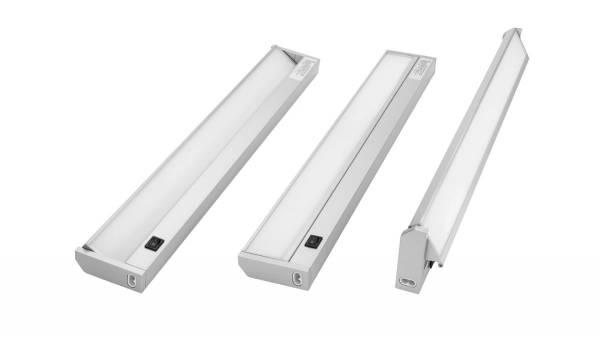 LED Unterbauleuchte, 5W, silber / grau mit Schalter und 1,8m Zuleitung mit Eurostecker, erweiterbar