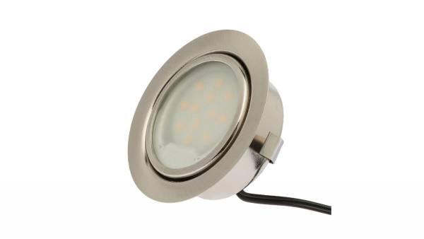 LED Einbauleuchten, 2,5W, matt-chrom inkl. 1,8m Zuleitung mit Mini-Stecker
