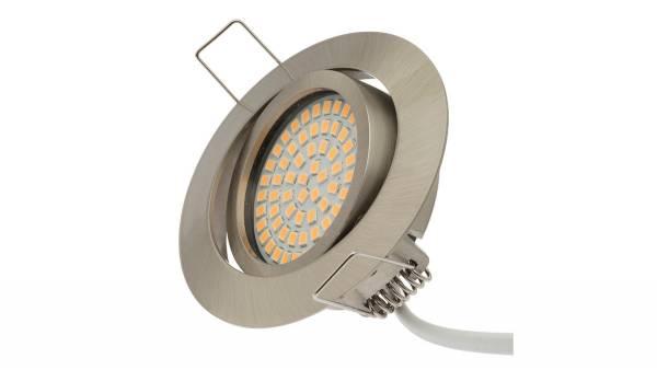 LED Einbauleuchten, 3,5W, matt-chrom inkl. 15cm Zuleitung mit Aderendhülsen