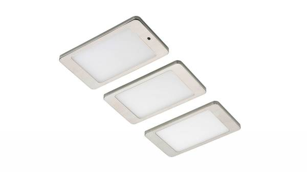 LED Unterbauset, 4,8W, matt-chrom inkl. LED Konverter m. Mini-Verteiler u. 1,5m Zuleitung