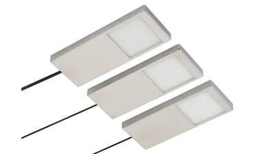 LED Unterbauset, 4W, matt-chrom / Edelstahl inkl. LED Konverter m. Mini-Verteiler u. 1,8m Zuleitung
